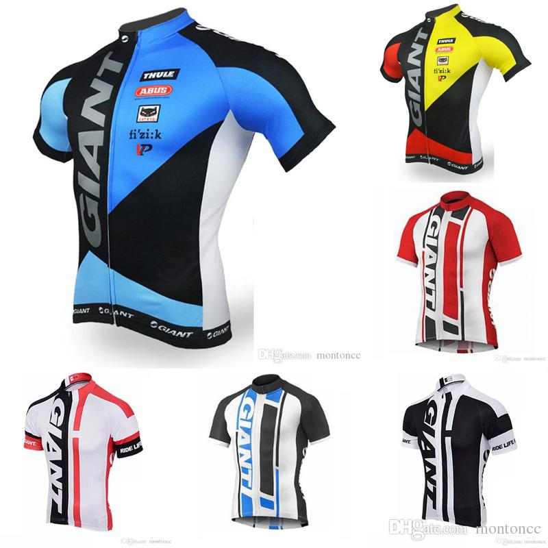 GIANT Team Cycling Short Sleeves Jersey Men Bike Clohes Tops Simple Style  Summer Comfortable Bicycle Sport Ropa Ciclismo Hombre E60801 Mtb Shorts  Sports T ... faa2cf94d
