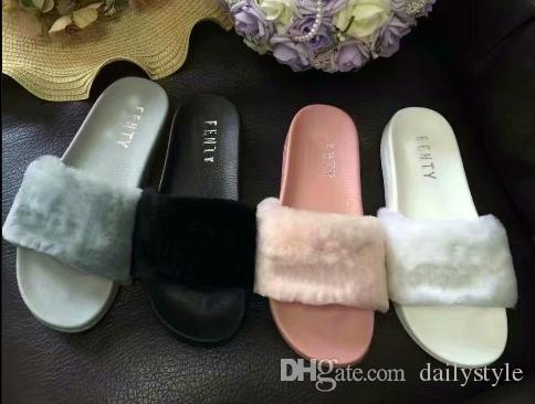 size 40 a28fd 9ff61 2018 Leadcat Fenty Rihanna Faux Fur Slippers Women Indoor Sandals Girls  Fashion Scuffs Pink Black White Grey Slides High Quality With Box