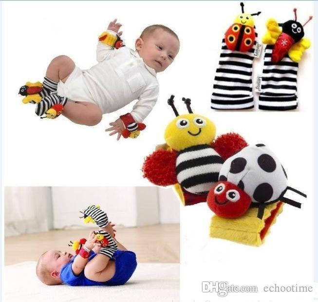 In Stock 400pcs sozzy Wrist rattle & foot finder Baby toys Garden Bug Bee Baby Rattle Socks Lamaze Baby Rattle Socks and wristband