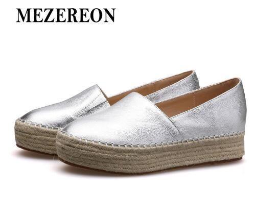 536b68c15817 MEZEREON Women Genuine Casual Shoes Loafers Women Platform Flat Shoe Silver  Gold Espadrilles Women Casual Shoes Flat Shoes Women Shoes Online with ...