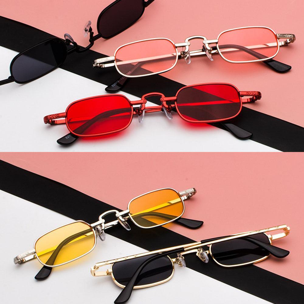 35cfc0f51d2b5 Compre Óculos De Punk Do Vintage Claro Quadrado Óculos De Sol Das Mulheres Retro  Óculos De Sol Para Homens Novo 2018 Vermelho Rosa Amarelo Marca Pequena ...