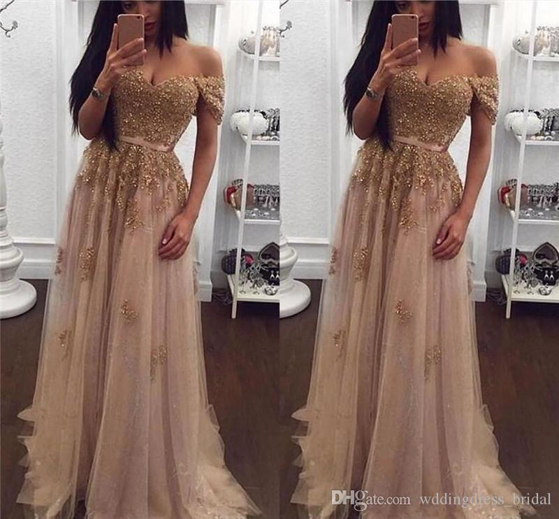 Champagne Lace Beaded Arabic Evening Dresses 2019 Off the Shoulder Sweetheart A Line Tulle Prom Dress Vintage Cheap Long Formal Party Gowns