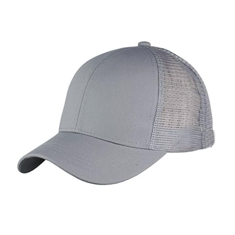 Black Polyester Outdoor Sunshade Ponytail Baseball Cap Tennis Cap Women Messy Bun Baseball Hat Sports & Entertainment