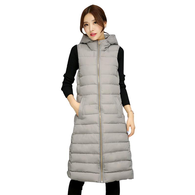 Winter Hooded Warm Women's Jacket Slim Female Vests Zip Pockets Down Waistcoat for Women Winter Warm Gray Womens Long Down Coat