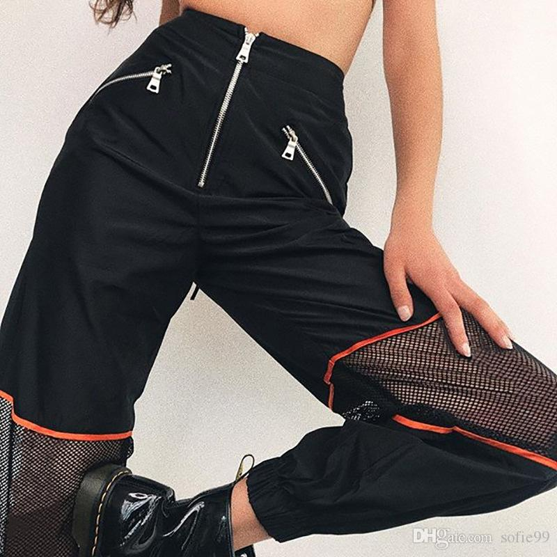 Noir Mesh Patchwork Zipper Crayon Pantalon Femmes Lâche Casual Pantalon Taille Haute Mode Femme Streetwear Pantalon