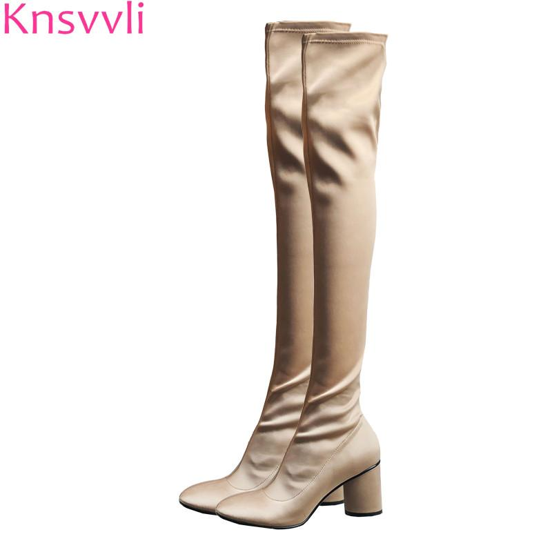 e43db2deae0 Knsvvli Apricot Women High Heel Satin Stretch Over The Knee Boots Black  Flock Thigh High Boot Round Heel Botas Feminine Leather Boots Ladies Boots  From ...