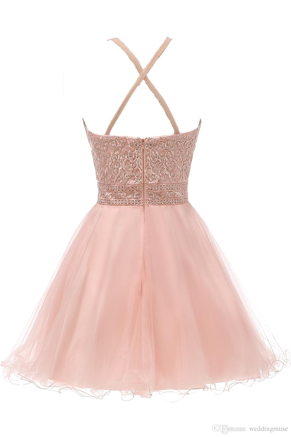 New Blush Short Prom Dresses Halter Lace Appliques Beaded A Line Ruffles Skirt Criss-Cross Back Homecoming Dress Graduation Prom Gown