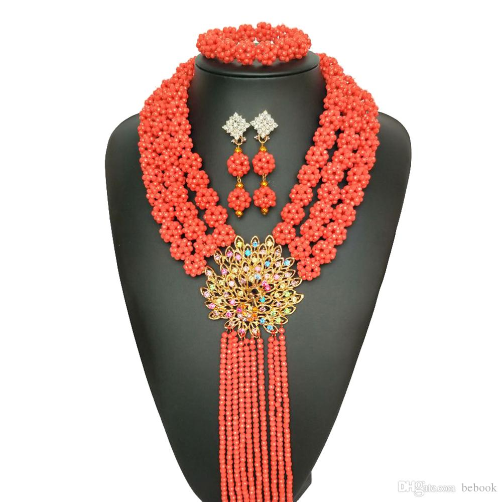 347fb5e8d6b0aa Orange 3 Row Wedding African Beads Jewelry Set Bridal Crystal Beaded  Necklace Wedding Beads Nigerian Jewelry Set For Women Engagement Ring  Wedding Bands ...