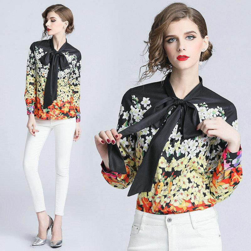 62cff3f7d4e32b Fashion Floral Printed Shirt Women Tops 2018 Autumn Blouses Ladies ...