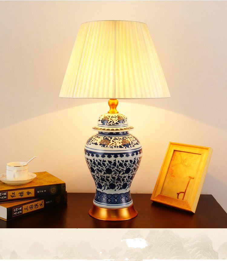 2019 Art Chinese Porcelain Ceramic Table Lamp Bedroom Living Room ...