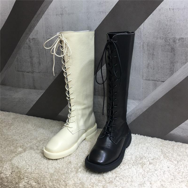 a495a024e303 Botas Mujer Leather Shoes Woman Knee High Knight Boots Duck Mouth Round  Toes Flats Zip Punk Woman Boots Zapatos De Mujer Slipper Boots Ankle  Booties From ...