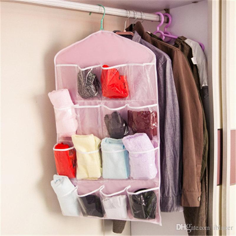 16 Grid Socks Underwear Clothing Storage Bag Hanger Hanging Type Clothing Storage Organizer Rack Bedroom Accessory
