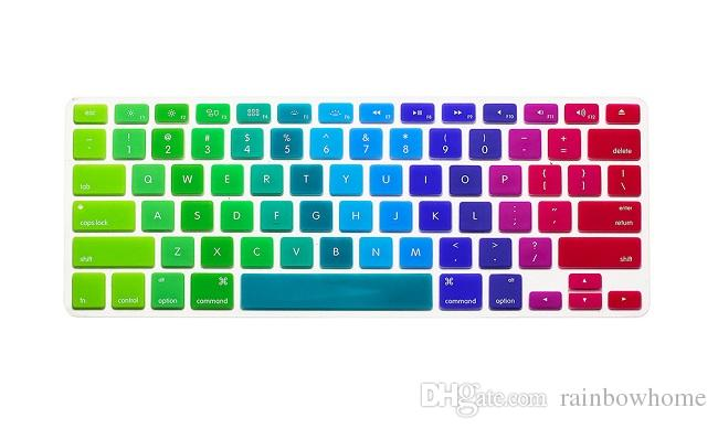 Soft Silicone Rainbow keyboard Case Protector Cover Skin For MacBook Pro Air Retina 11 13 15 inch Waterproof Dustproof retail box US Ver