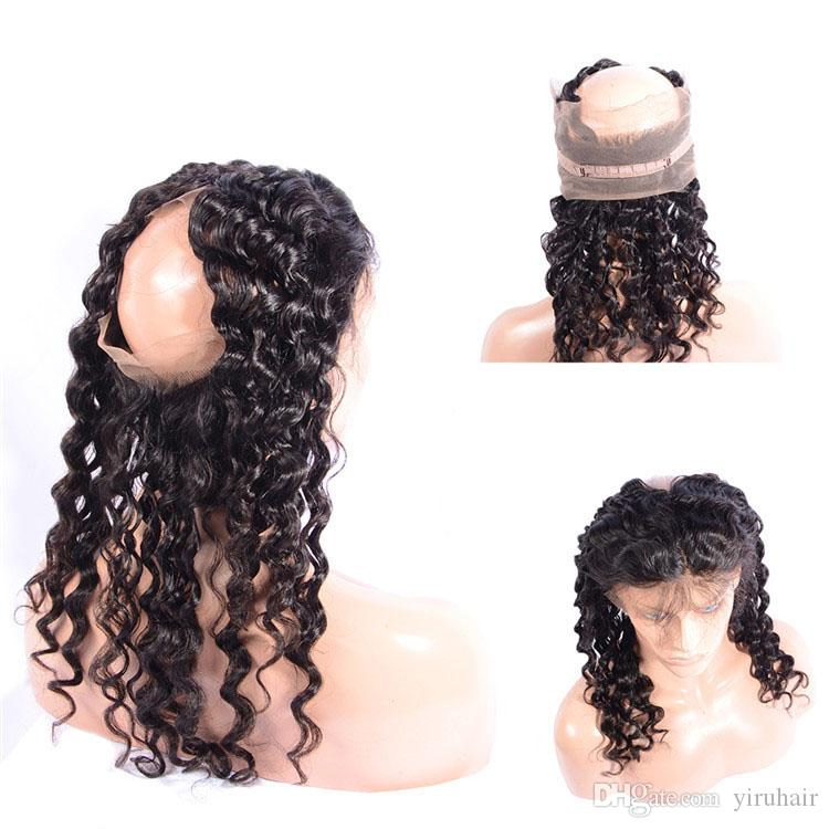 Peruvian 100% Unprocessed Human Hair Bundles With 360 Lace Frontal Deep Wave Curly 22.5*4*2 Lace Band 360 Lace Frontal