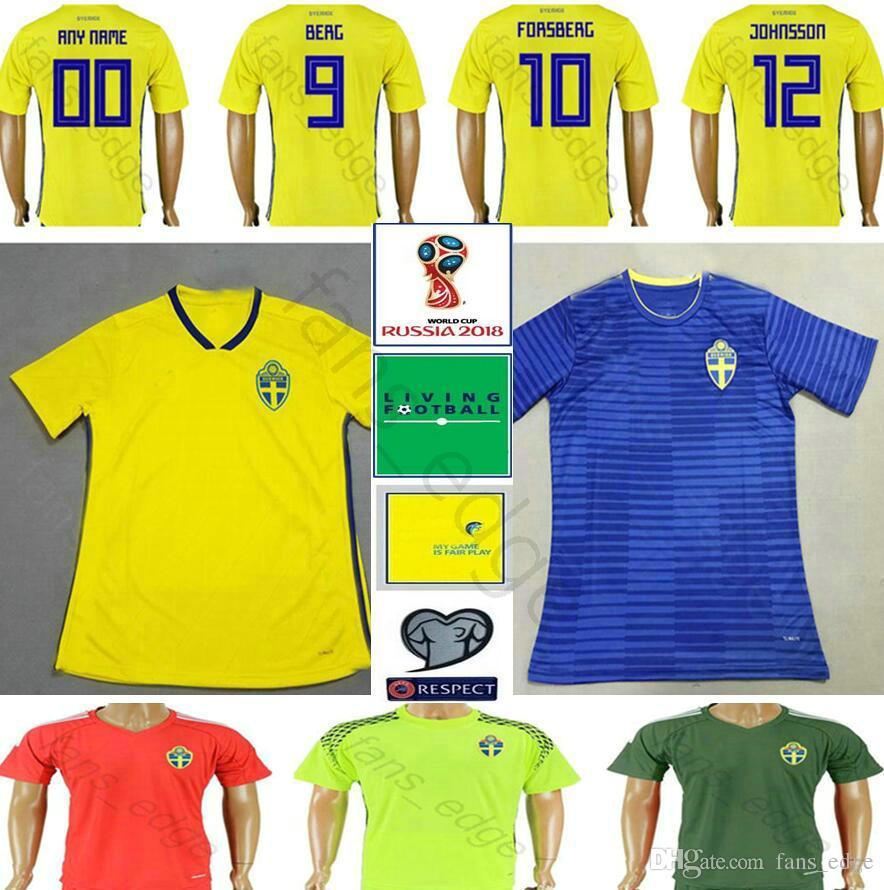 86d81d806 2019 2018 Sweden World Cup Soccer Jersey 13 JOHANSSON 12 JOHNSSON 11  GUIDETTI 10 FORSBERG 9 BERG 7 LARSSON Custom Home Sverige Football Jersey  From ...