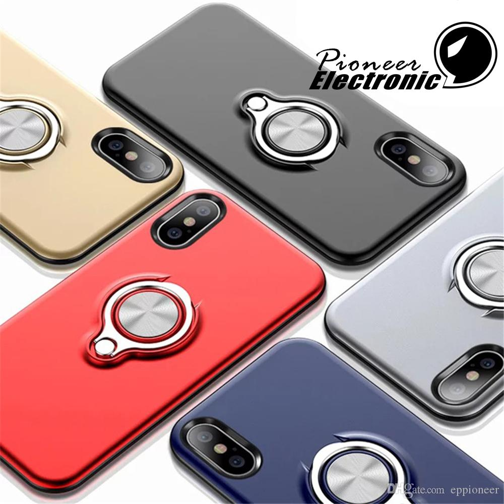 buy popular e1721 b5f4f For 2018 NEW IPHONE XR XS MAX Armor Phone cases Dual Layer With Iron Sheet  Magnetic Ring Car Holder Magnetic Bracket Ring Cases