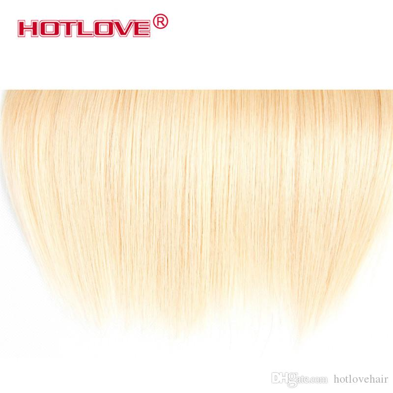 HOTLOVE Hair Company Brazilian Virgin Straight Human Hair Extensions 12 To 24 Inch / Remy Hair Weaving 613 Blonde Bundles