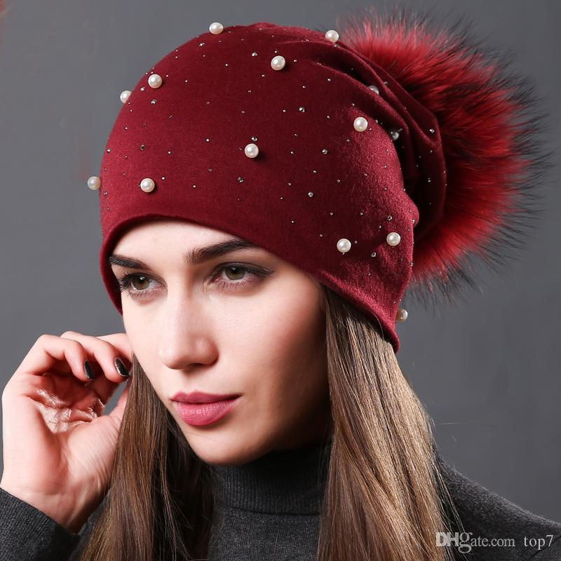 2018 Women s Fashion Hat Autumn Winter Rhinestones Pearl Hats Female  Beanies Natural Raccoon Fur Pompom Cotton Warm Caps Winter Caps Beanie Hats  Skull Hats ... a51a90bd612c