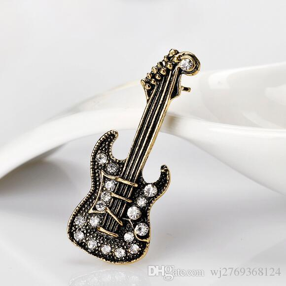 Charm Retro Crystal Violin Lapel Pins Brooch Women Men Delicate Corsage Party Prom Jewelry Costume Dress Accessory