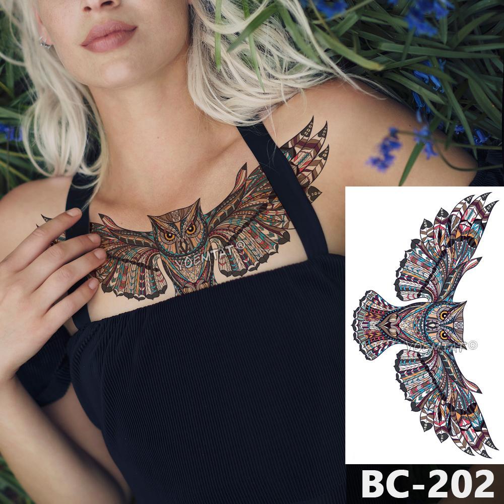 1 Hoja De Tatuaje Del Cuerpo Del Pecho Temporal Impermeable Joyeria
