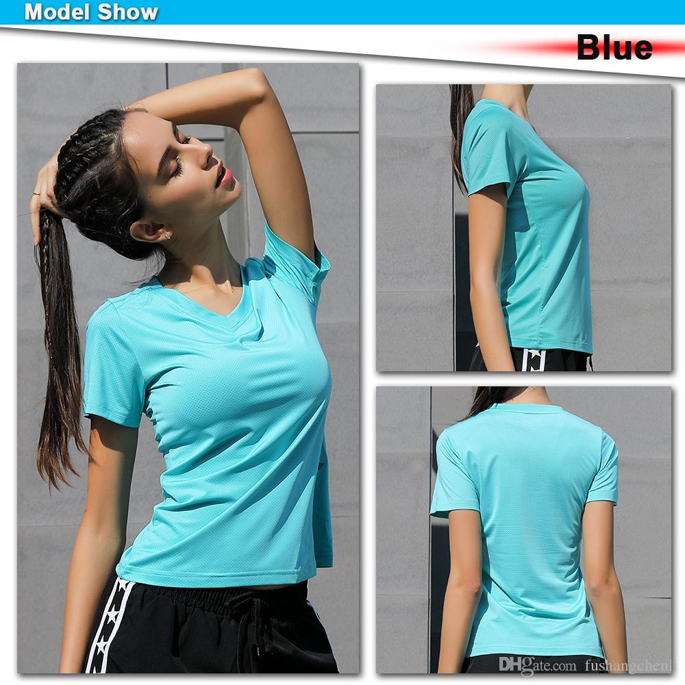 Yoga Tshirt Gym Jerseys Fitness Shirt Trainer Running T-shirts Sport Top Womens Training Short Sleeves Sexy Women Sport Shirts