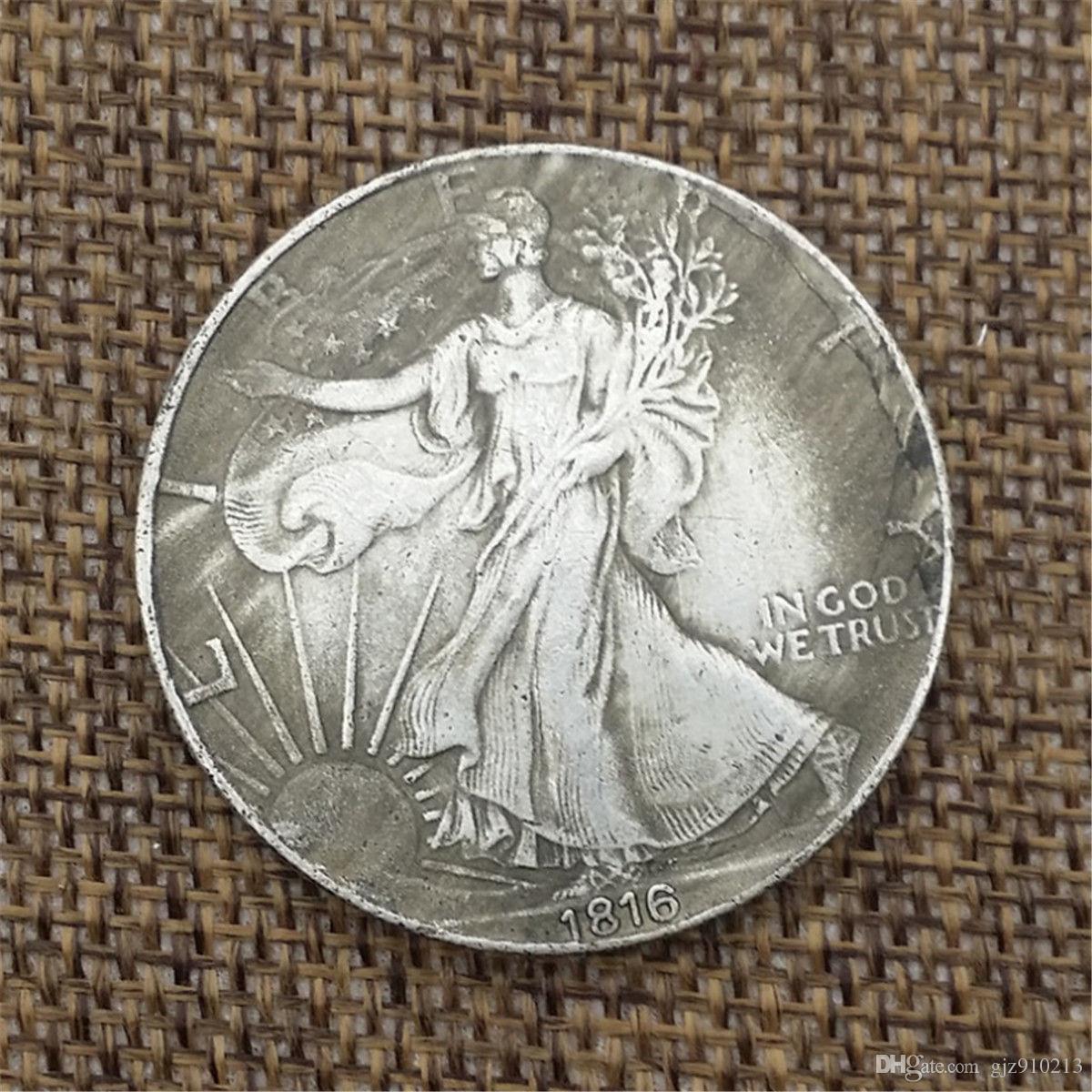 Großhandel 1816 Retro 1oz Silber 1 Dollar Münze Freiheitsstatue