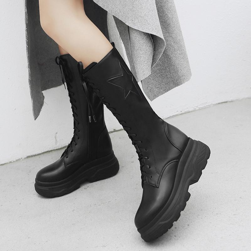 5749c5ddd2d Flat With Knee High Boots Women Platform High Heel Fashion Ladies Boots  Lace Up Autumn Winter Pu Woman Shoes Plus Size 2018 New Boots Sale Wedge  Boots From ...