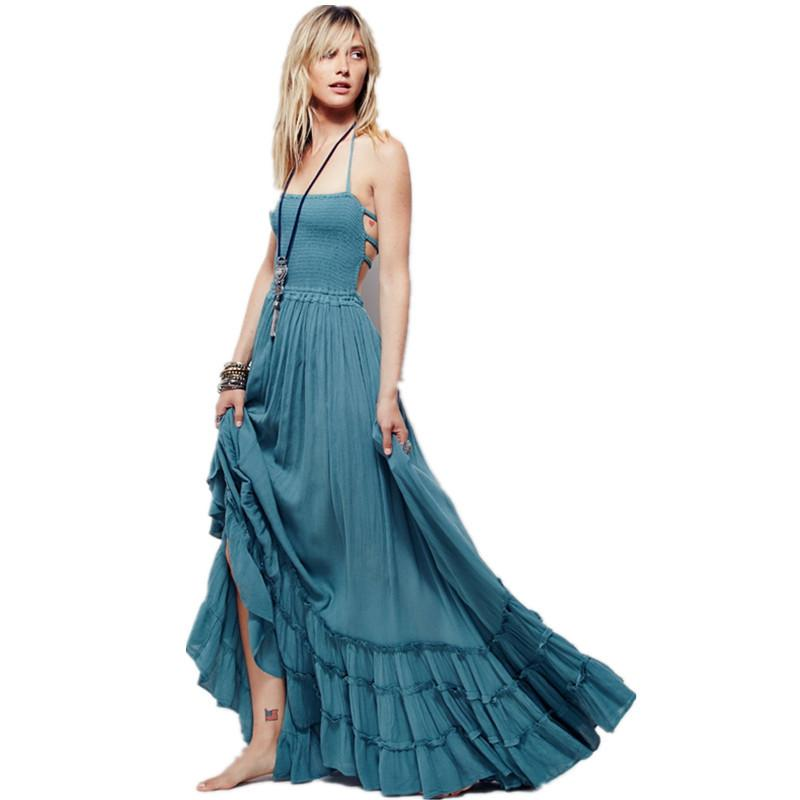 Acquista Boho Chic Halter Chiffon Abito Lungo Donna Backless 2017 Maxi Abiti  Vestidos Sexy Split Beach Vestito Estivo Beach Wear Mori Ragazza Y1890702 A  ... bb7be75757d