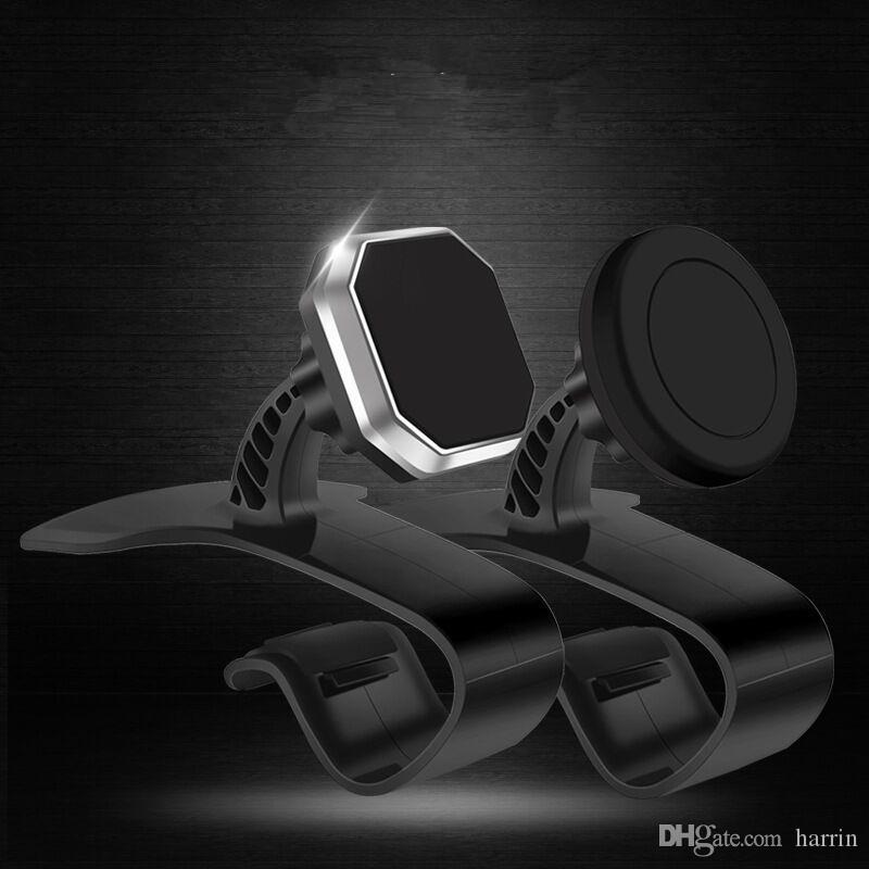 Black Square Circular Magnetic Car Stand Dashboard Outlet Mobile Cell Phone Navigation Multi-function Holder Mounts 3683