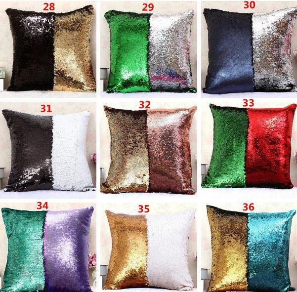 Creativo Personalizado Impresión de Color Lentejuelas Almohada Sirena Cojín Funda de Dos colores Brillante Brillante Almohada Sofá Coche Decoración de Navidad