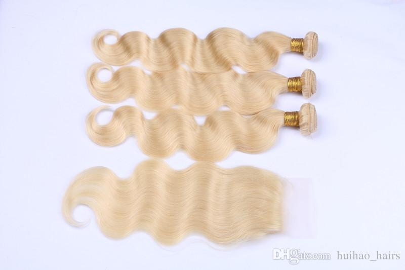 613 loira russa cabelo virgem com fechamento 3 pacotes com 4 * 4 lace closure 10a top cabelo humano com fechamento parte livre