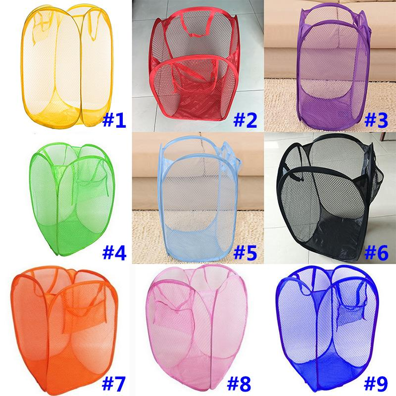 Fold Laundry Hamper Mesh Storage Containers Durable Handles Collapsible Organizer For Clothes In the Kids Room College Dorm Travel HH7-1100