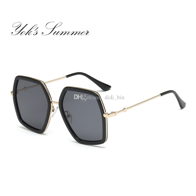 a374bc3c361 Yok s Summer Oversized Sunglasses Women Trend Octagon Plastic Metal Frame  Glasses Decoration Goggles Female Shades Gafas WL129 Women s Gold Leaf  Sunglasses ...