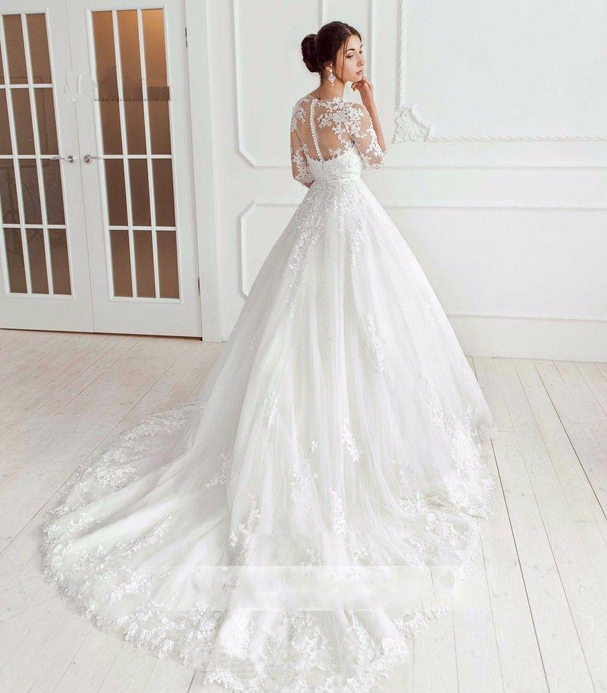 Großhandel Koreanische Hochzeitskleid Vestido De Noiva Vintage Prinzessin  Brautkleider Spitze Halbe Ärmel Applique Braut Kleider 15 Casamento Von