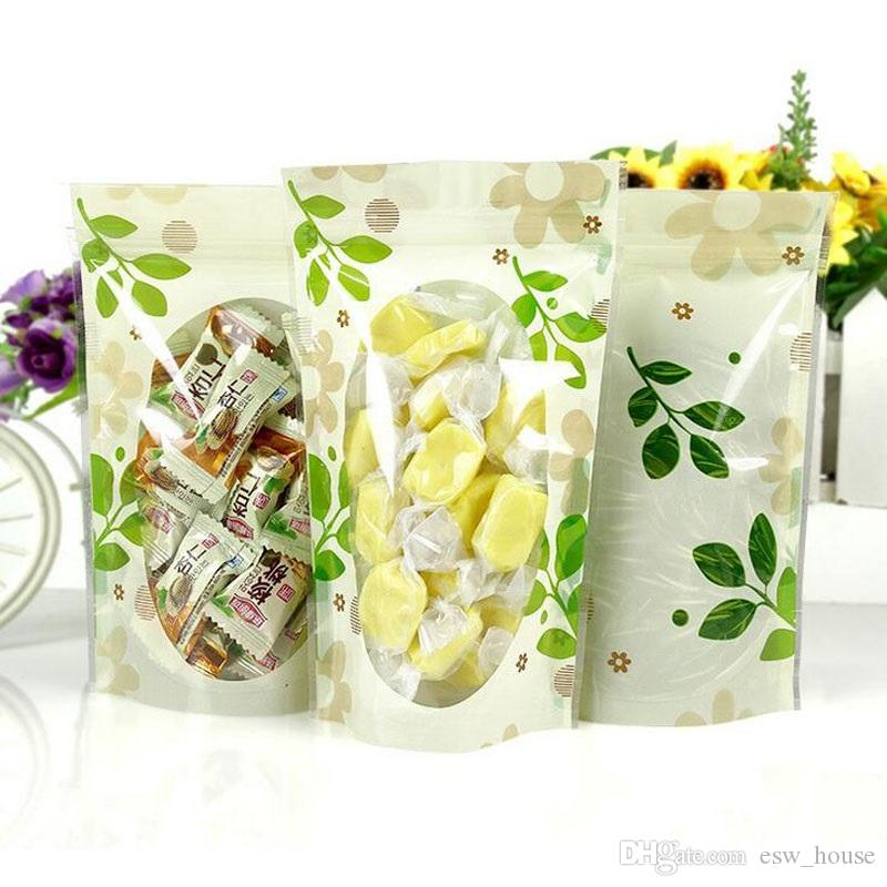 Armazenamento plástico dos doces do chá do petisco 12 * 20cm Os sacos verdes dos doces da folha cancelam o saco Resealable do Ziplock verde da folha do selo térmico do malote da embalagem
