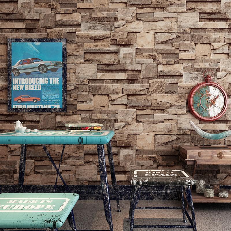 Retro vintage faux brick wallpaper bar restaurant hair salon barber shop culture stone 3d wallpaper more wallpapers movie wallpaper from perfectzqj