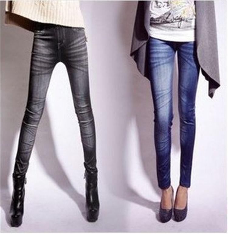 Jeans femme taille mi-longue leggins d'entraînement longue imitation femmes en denim minceur legging TE2418 jeans leggings transparente style jean gris YWOM8163