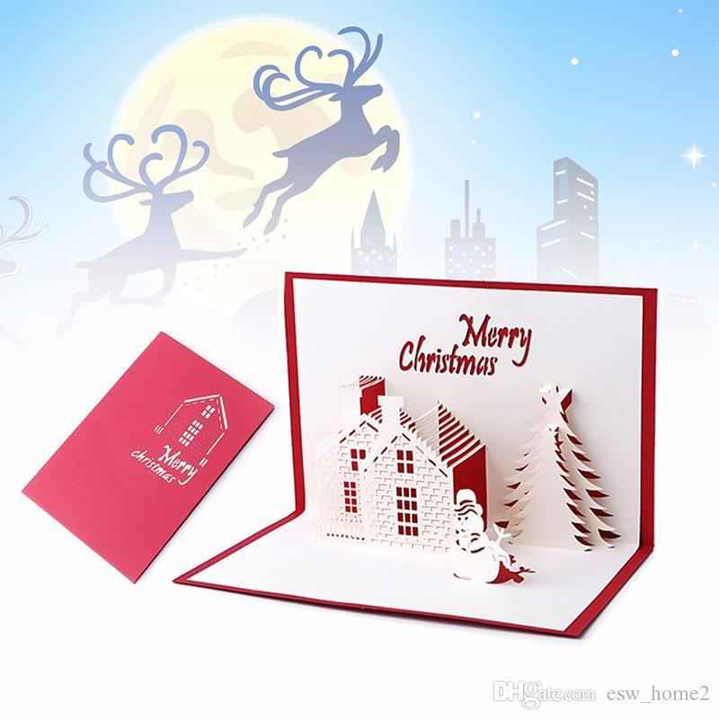 Großhandel 3D Weihnachtskarten Pop Up Gruß Weihnachtskarten ...