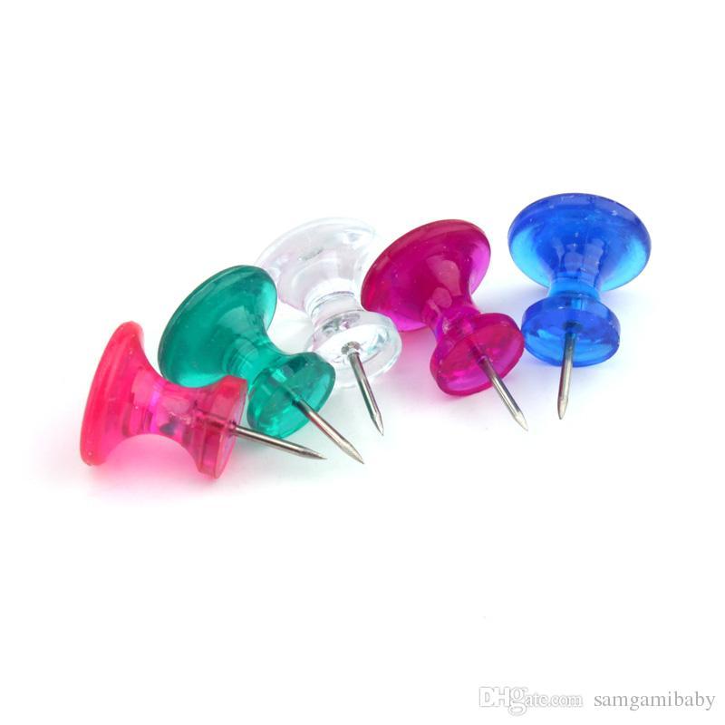 Goupilles-poussoirs jumbo 100 points, pointe de pouce transparente colorée pointe en acier 11mm, tête en plastique transparent 16 * 13mm