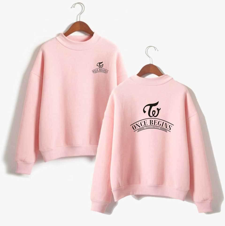 57f49ed58b1 Fashion Turtleneck Pink Hoodies Sweatshirt Women Casual Pullover Loose  Fleece Tracksuit Twice Heart Shaker Sweatshirts for Girls