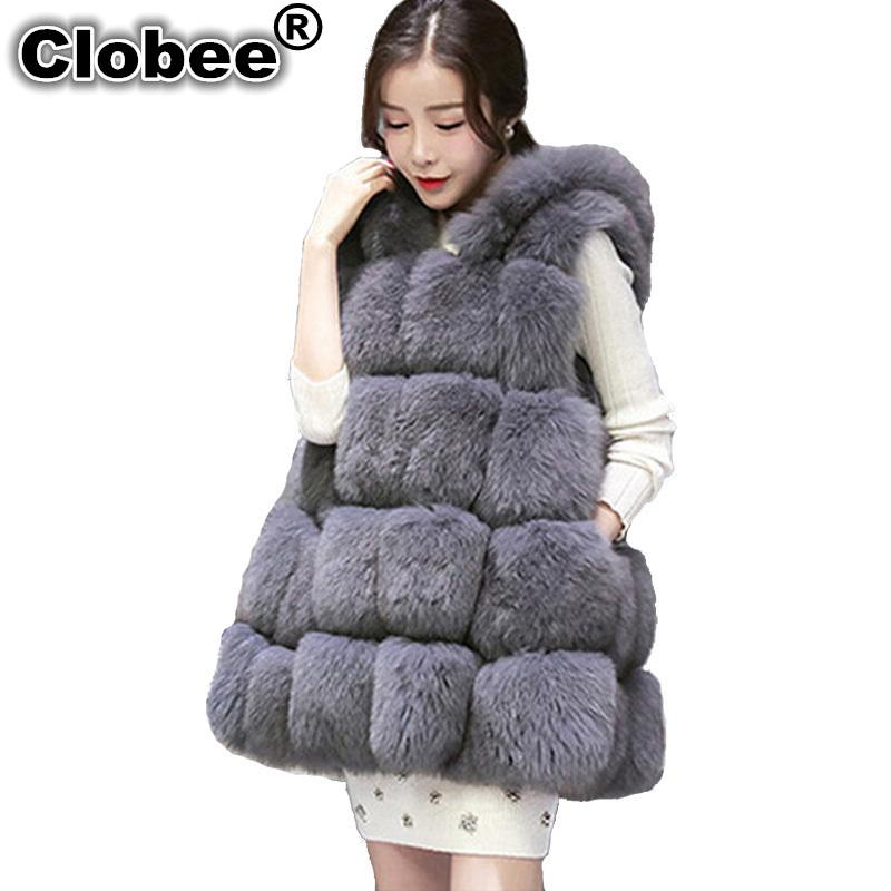 6deb5479be61 2019 Artificial Fur Coat 2018 Winter Fluffy Medium Long Women Hooded ...