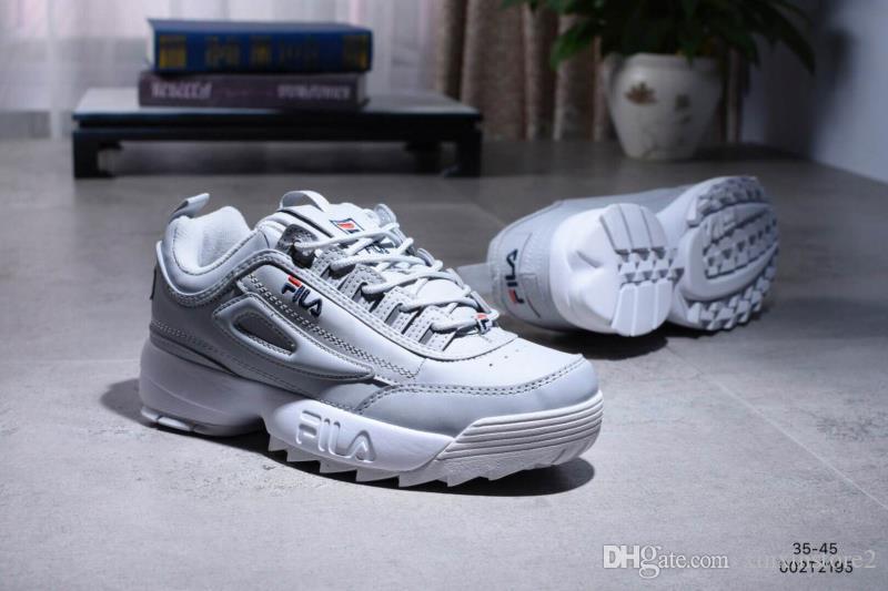 094b4bb25984 Fila Designer Disruptors II 2 Women Brand Shoe Gold Grey Triple White Black  Grey Men Sports Shoe Sneaker Increased Running Shoes EUR 36-44 Wholesale  Sports ...