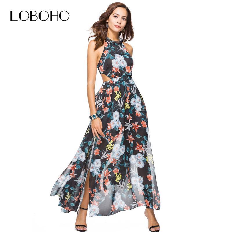 Großhandel Chiffon Maxi Kleid Sommer 2018 Fashion Holiday Sexy Frauen Kleid  Mit Open Back Halter Boho Style Blumendruck Kleider Open Slit Von Balljoy,  ... 03685ea398
