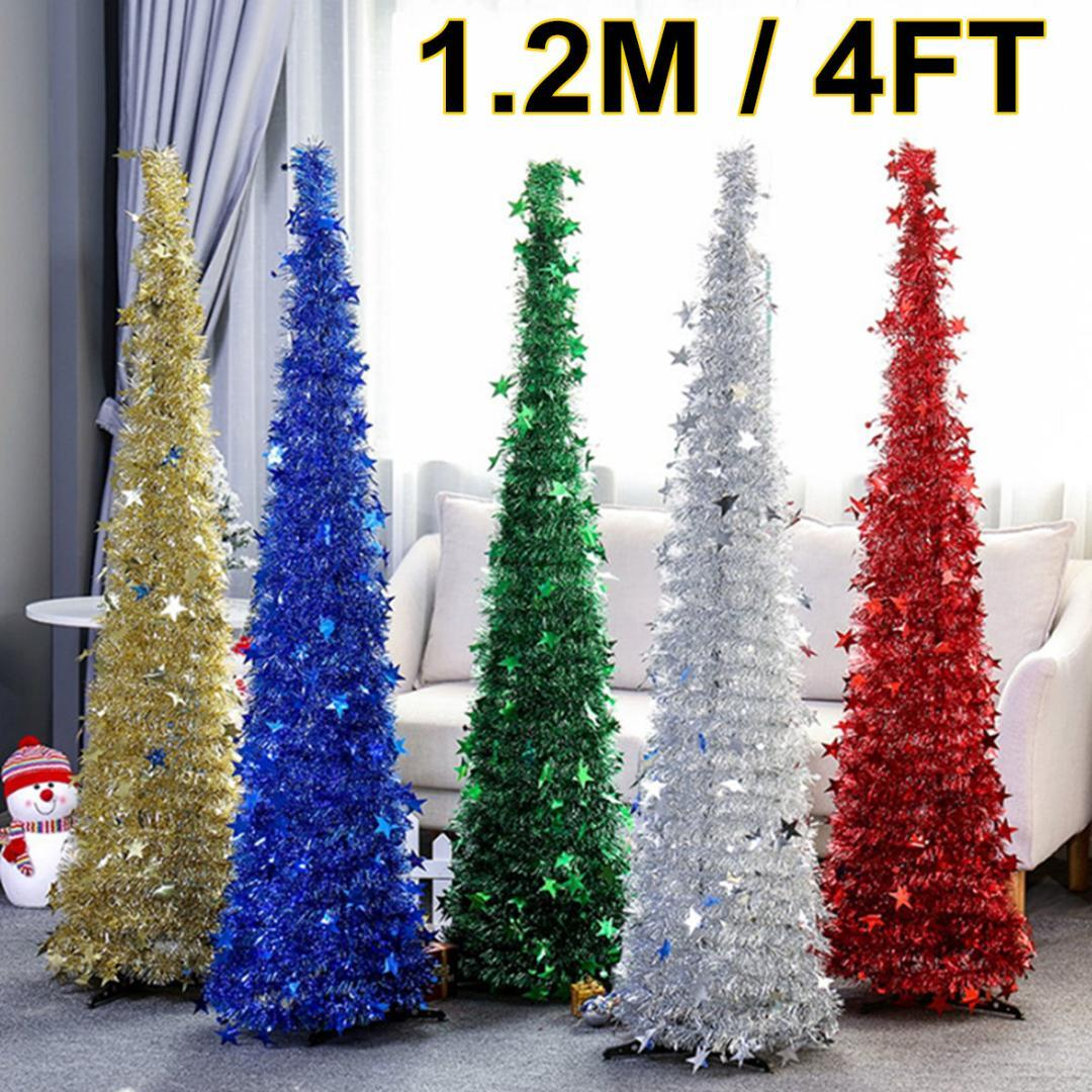 Collapsible Tinsel Christmas Tree 1 2m 4ft Venue Ornaments Stand 5 Colors Home Mall New Year Christmas Party Decoration Favor