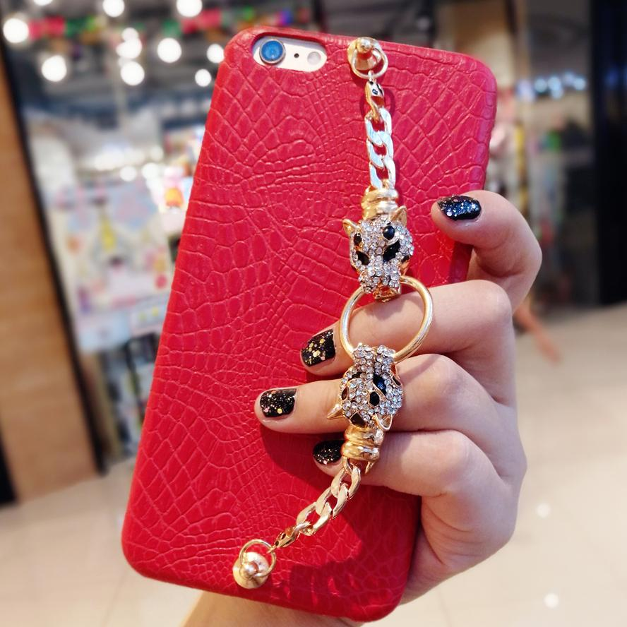 online store dc45e 05515 For iPhone 6 6s 7 8 plus X Luxury Pretty Fancy Cool rhinestone diamond  Leopard Head chain bracelet leather phone case cover