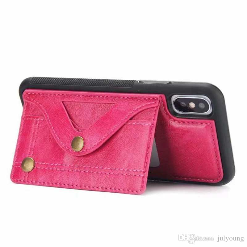 Mirror Card Box Pocket Leather Soft TPU Case For Iphone X 8 7 Plus 6 6S Plus Multifunction Silicone ID Card Slot Flip Cover Pouch Luxury