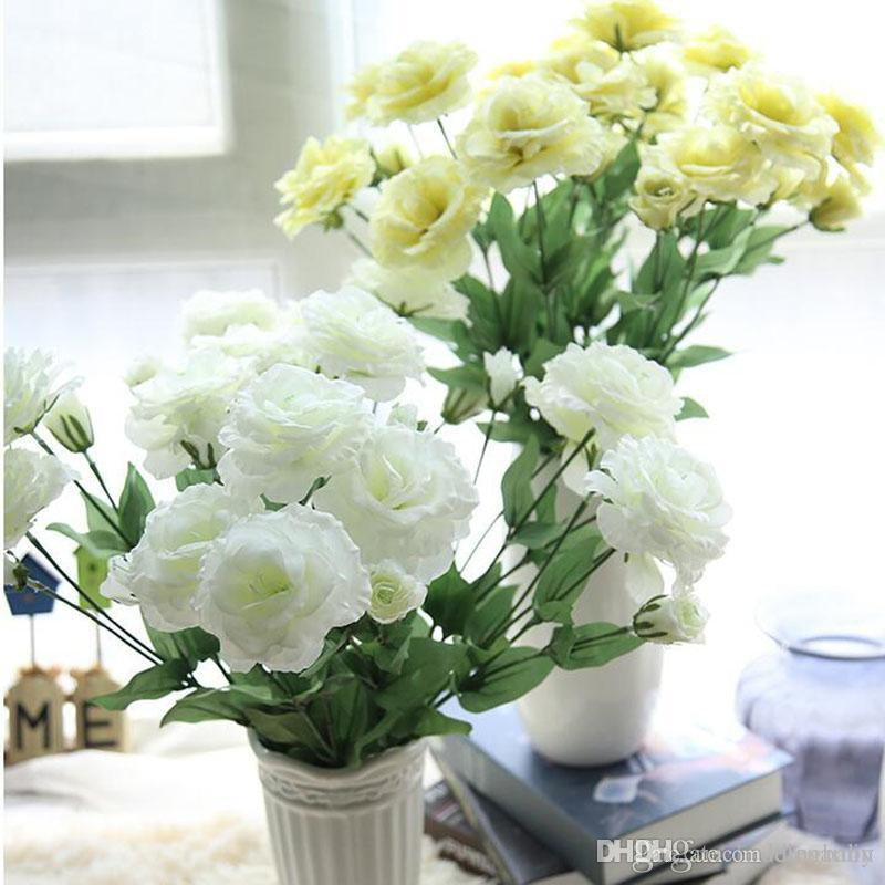 Eustoma Fake Flower Wedding Bouquet Four Head Real Touch Hydrangeas ...