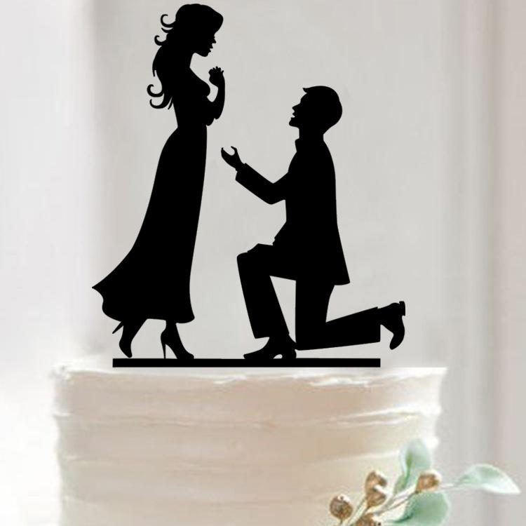 2018 Propose Marriage Cake Topper Acrylic Silhouette Wedding Cake ...