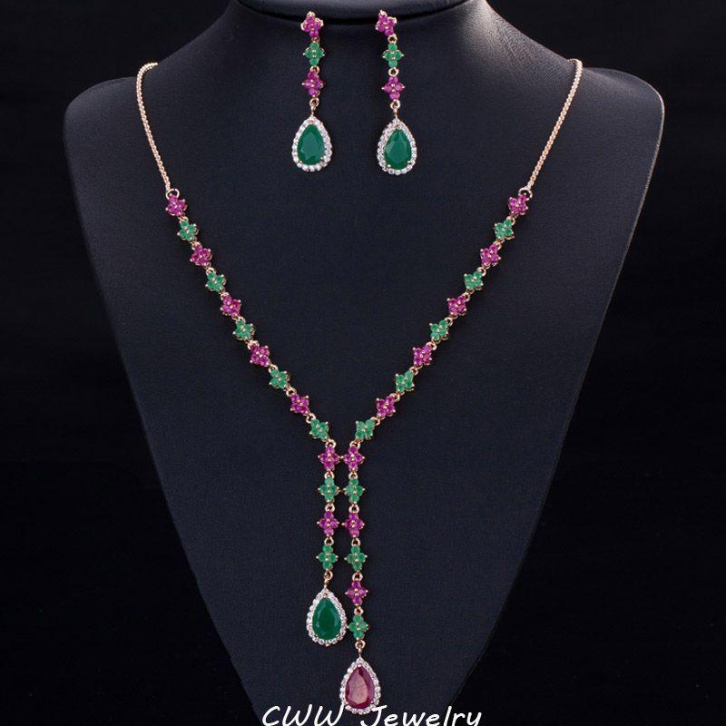 Whole Salecwwzircons Beautiful Green And Red Cz Stone Jewelry 4 ...