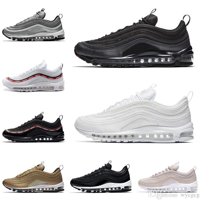 bas prix f3323 5dcc1 2018 nike air max 97 Vente chaude chaussures Triple blanc noir rose  chaussures de course Og Métallique Or Argent Bullet Hommes formateur Femmes  ...